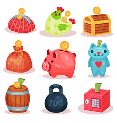 flat set of money boxes in different forms vector image