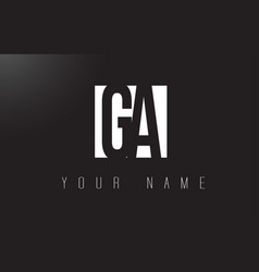 Ga letter logo with black and white negative vector