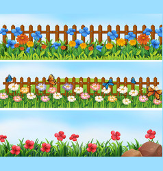 Garden scenes with flowers and fence vector