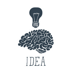 hand drawn brain with idea lettering vector image