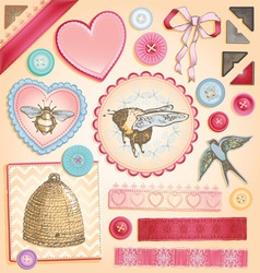 Hand Drawn Vintage Scrapbook Set vector image