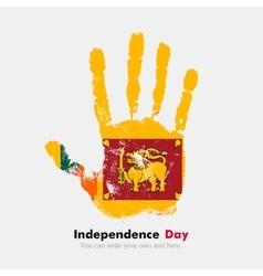 Handprint with the Flag of Sri Lanka in grunge vector