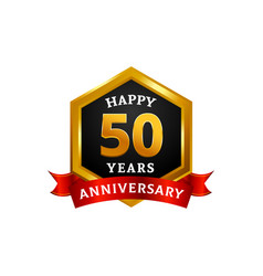happy 50 years golden anniversary logo vector image