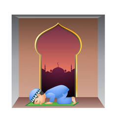 Happy little muslim boy praying in mosque vector