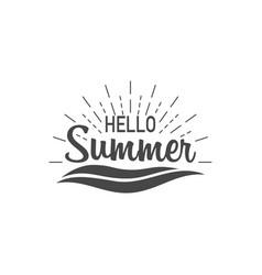 hello summer banner hello summer with sunburst vector image