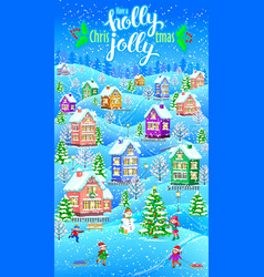 holly jolly vertical greeting card vector image
