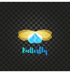 Isolated yellow and blue butterfly logo vector image