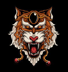 japanese tiger head vector image