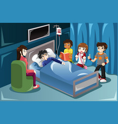 Kids visiting their friend in hospital vector