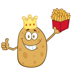 King Potato Cartoon with Fries vector
