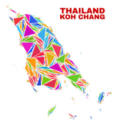 Koh chang map - mosaic of color triangles vector