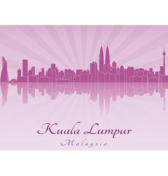 Kuala Lumpur skyline in purple radiant orchid vector
