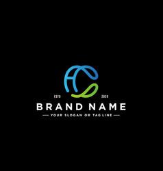 Letter ca colorful logo design vector