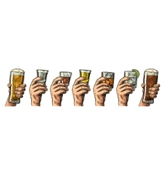 Male hand holding a glass with beer tequila vector