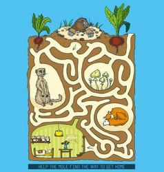 mole maze game vector image