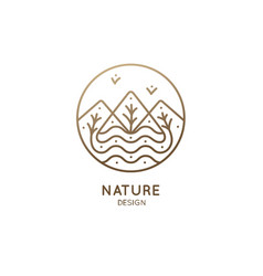 Nature linear logo vector