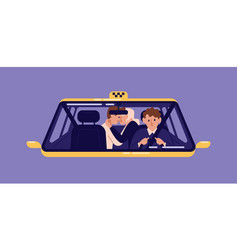 pair of customers kissing at back seat of taxi and vector image