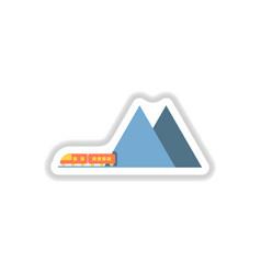Paper sticker on white background mountain train vector