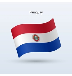 Paraguay flag waving form vector image