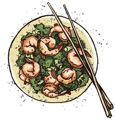 Prawn salad vector