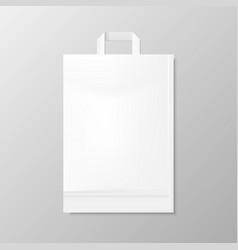 Realistic shopping white bag vector