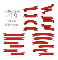ribbon set red colored on white background vector image