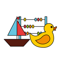 rubber duck boat abacus kid toys vector image