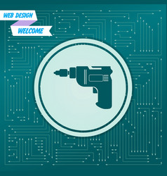 screwdriver power drill icon on a green vector image