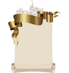 Scroll to the old city and a gold ribbon vector image