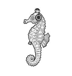 Seahorse and headphones sketch vector