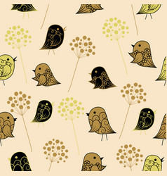 seamless pattern with birds in vintage style vector image