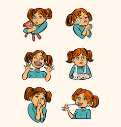 set collection little girl in different situations vector image