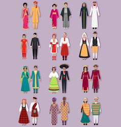 Set national costumes design vector