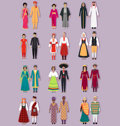 Set of National Costumes Design vector