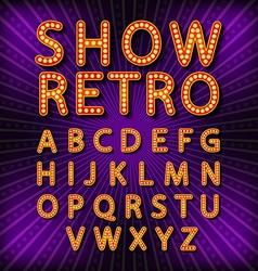 Set Retro neon sign vintage billboard bright vector