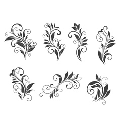 Seven floral elements vector image