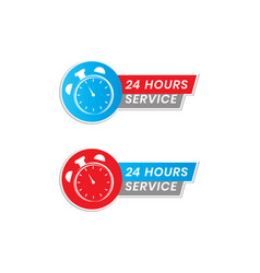Simple 24 hour service icon vector