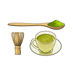 Sketch green mathca tea set vector