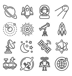 Space universe research icons set stars vector