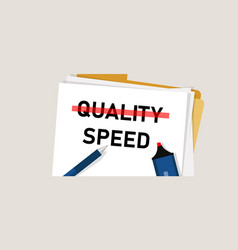 speed and quality select between cost efficiency vector image