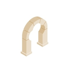 Stone trefoil arch icon isometric 3d style vector