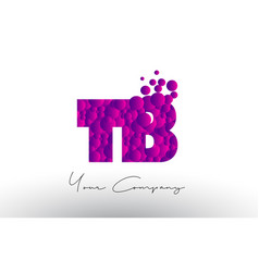 Tb t b dots letter logo with purple bubbles vector