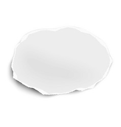 Torn paper scrap oval shape isolated on white vector