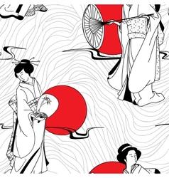 traditional Japanese Geisha seamless pattern vector image