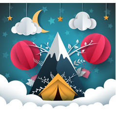 travel paper mountain tent air vector image