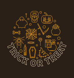 Trick or treat round halloween holiday line vector
