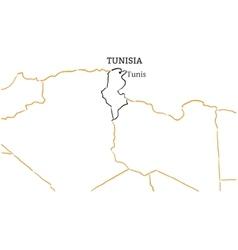 Tunisia hand-drawn sketch map vector