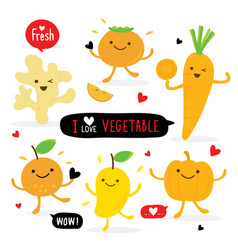 Vegetable fruit cartoon cute mango orange carrot vector