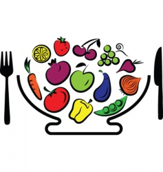 vegetables and fruits bowl vector image