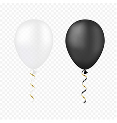White and black balloons on a transparent vector